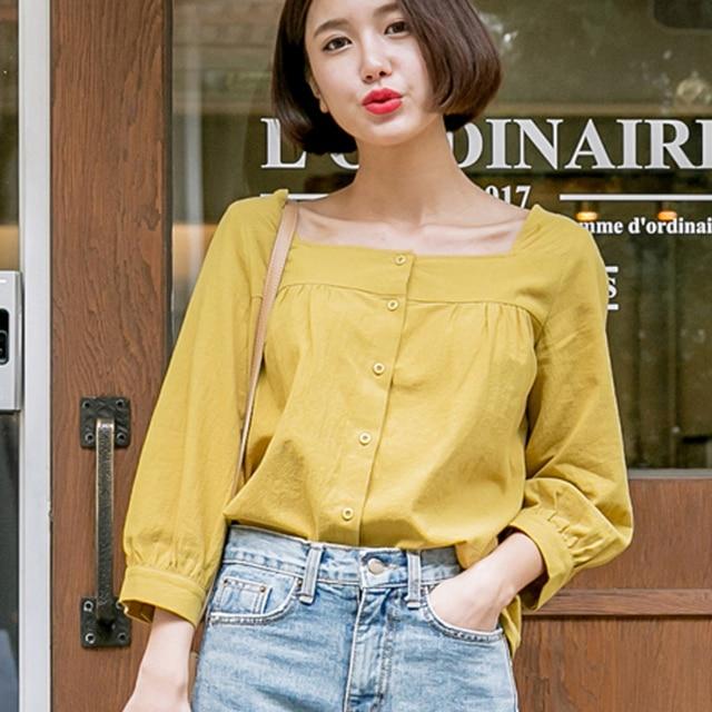 f03e2ee757 Mara Alee Mulheres Praça Neck Top Blusa Amarela Botão Branco Para Baixo  Camisa para Mulheres Tops