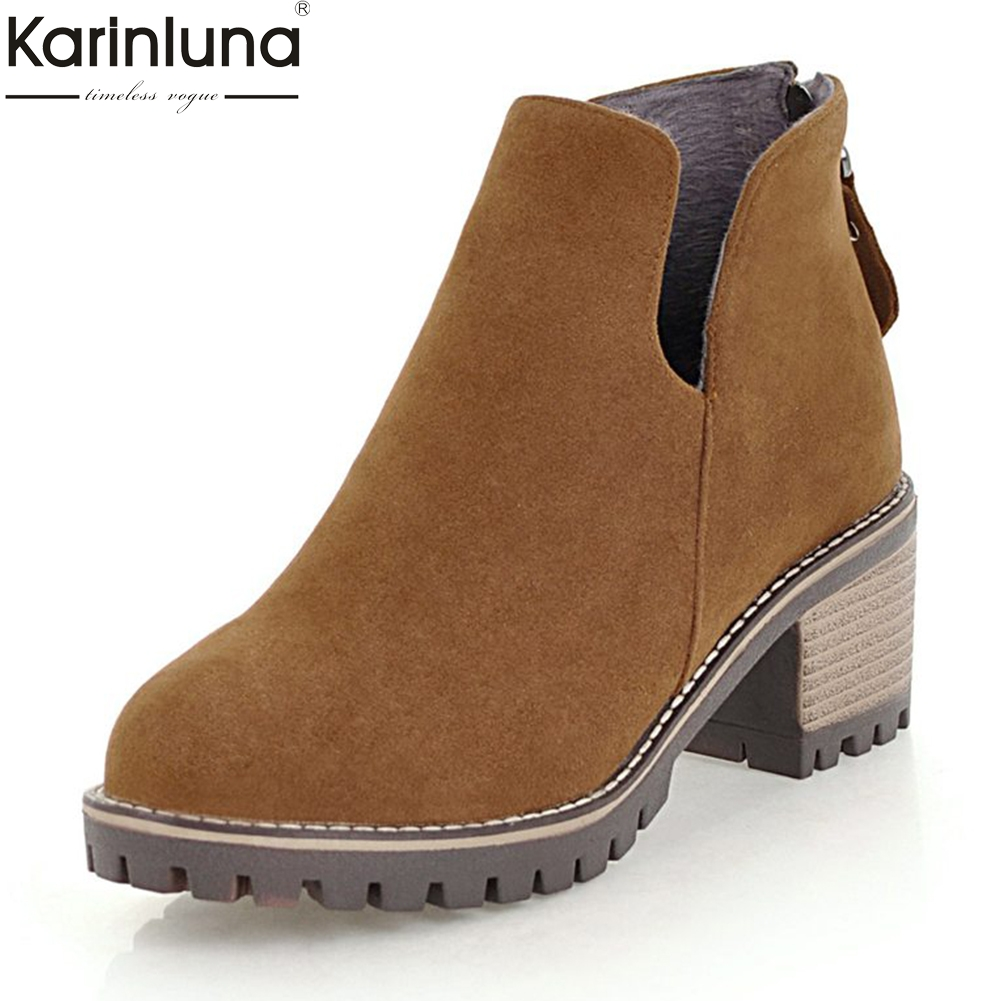 KarinLuna Large Size 33-43 Zip Up Solid Add Fur Winter western Boots Woman Shoes Warm plush booties Shoes Woman Ankle Boots цена