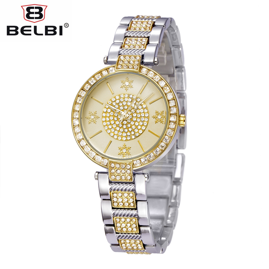 ФОТО BELBI Brand New Luxury Stainless Steel Watch Women Snow Flower Pattern Casual Quartz Wristwatch Ladies Mature Style Dress Watch