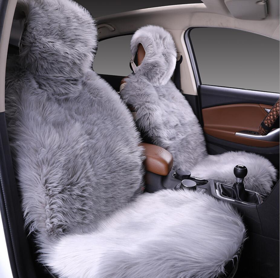 Rear Long wool sheepskin Winter Warm 3 Pcs Seat Covers Front Hot Selling !