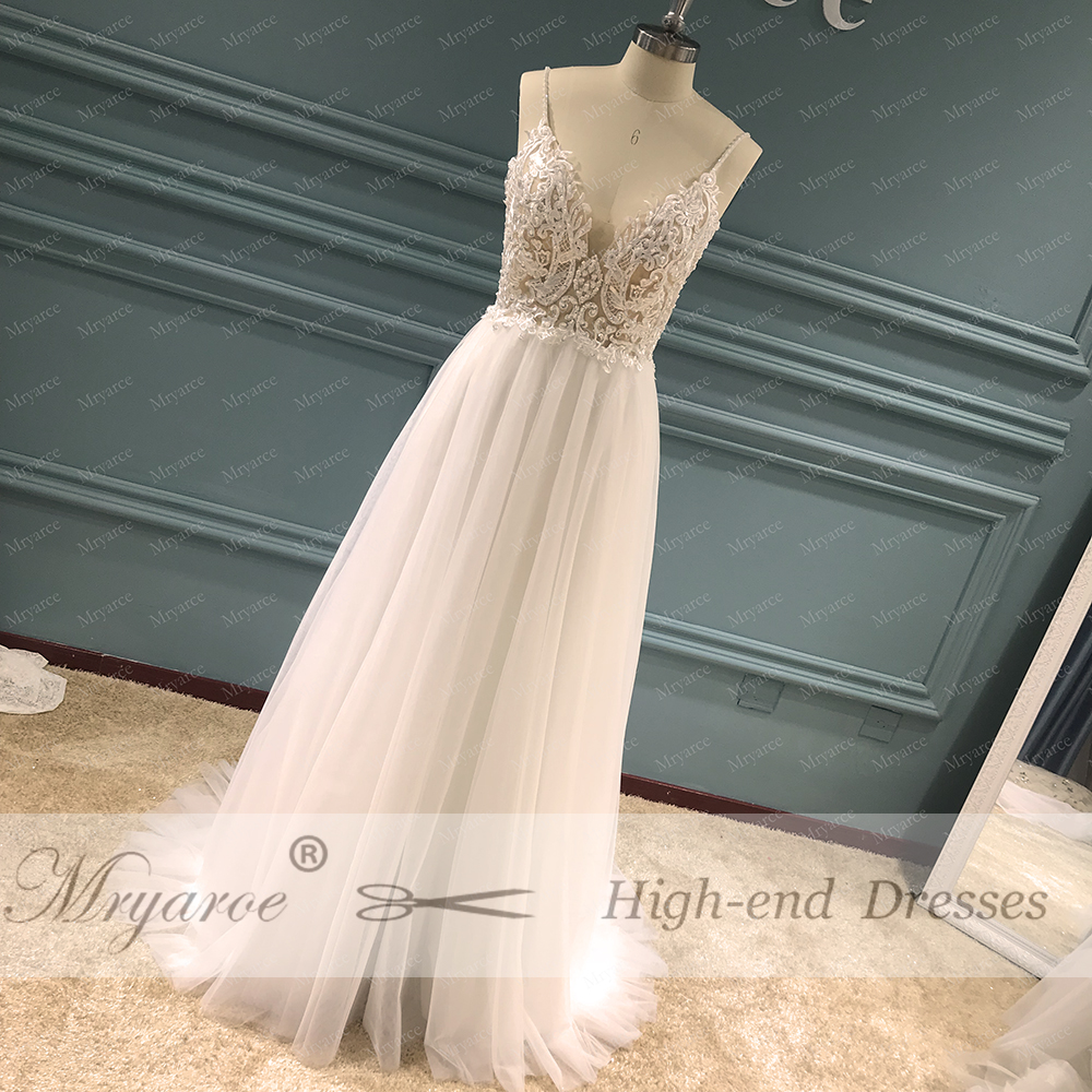 Mryarce Exclusive lace Beading Flowing Tulle A Line  Wedding Dress Open Back Summer Beach Elegant Bridal Gowns  (7)