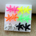 Popular hot style of wholesale 162 pairs cute The resin multicolor starfish earrings prevent allergy stud  earrings