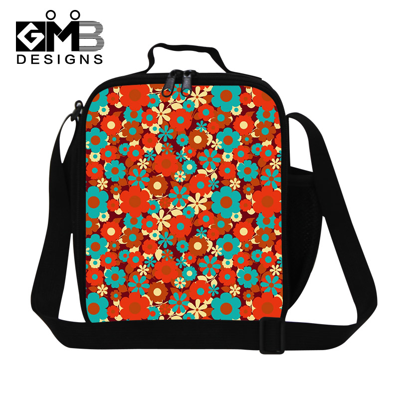 flower printed insulated lunch bag pattern for girls bag termica for lunchbox work lunch. Black Bedroom Furniture Sets. Home Design Ideas