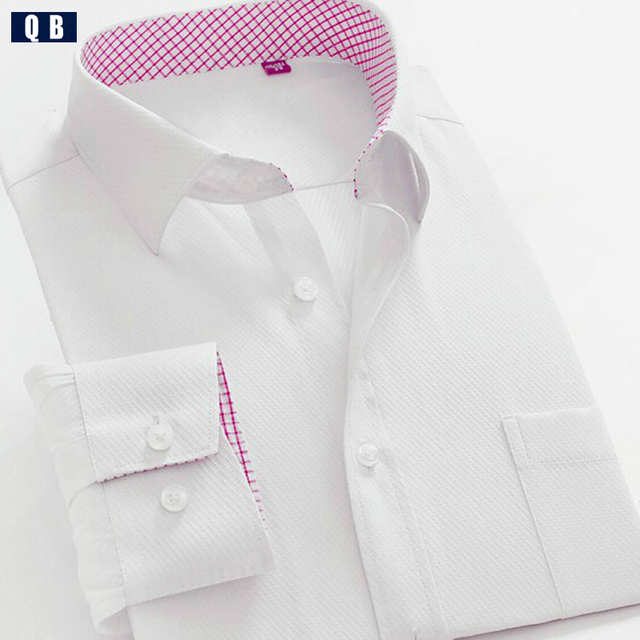 Spring white shirt male long-sleeve slim solid color easy care shirt commercial formal