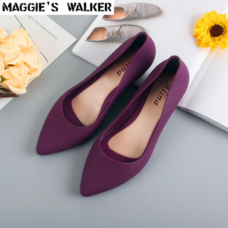 Wedges Sandals Rain-Shoes Maggie's Walker Jelly Pointed-Toe Purple Resin Slip-On Women