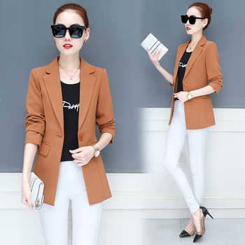 LANLOJER New Women Blazer Mid-Long Jackets Solid Casual Coat Blazer Feminino Women Blazers Tops Suit 890#