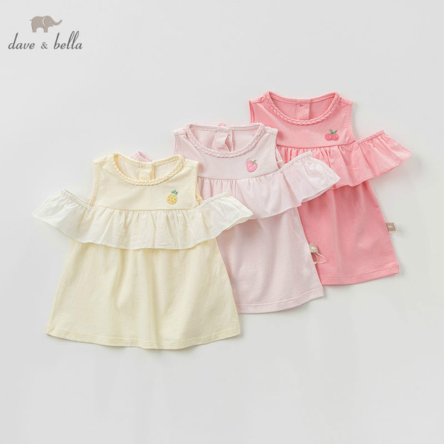 DBZ10529 dave bella summer baby girl clothes infant toddler sleeveless T shirt children boutique tops kids lolita tees