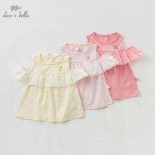 DBZ10529 dave bella verano ropa de bebé niña, bebé niño sin mangas de la camiseta de los niños tops de boutique niños lolita camisetas