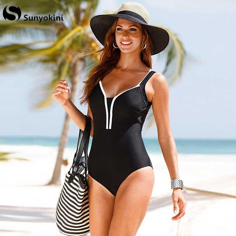 Sunyokini One Piece fürdőruha Női plusz méret Monokini fürdőruha Szexi nagy méret Tankini fekete fürdőruha párnázott test 4XL
