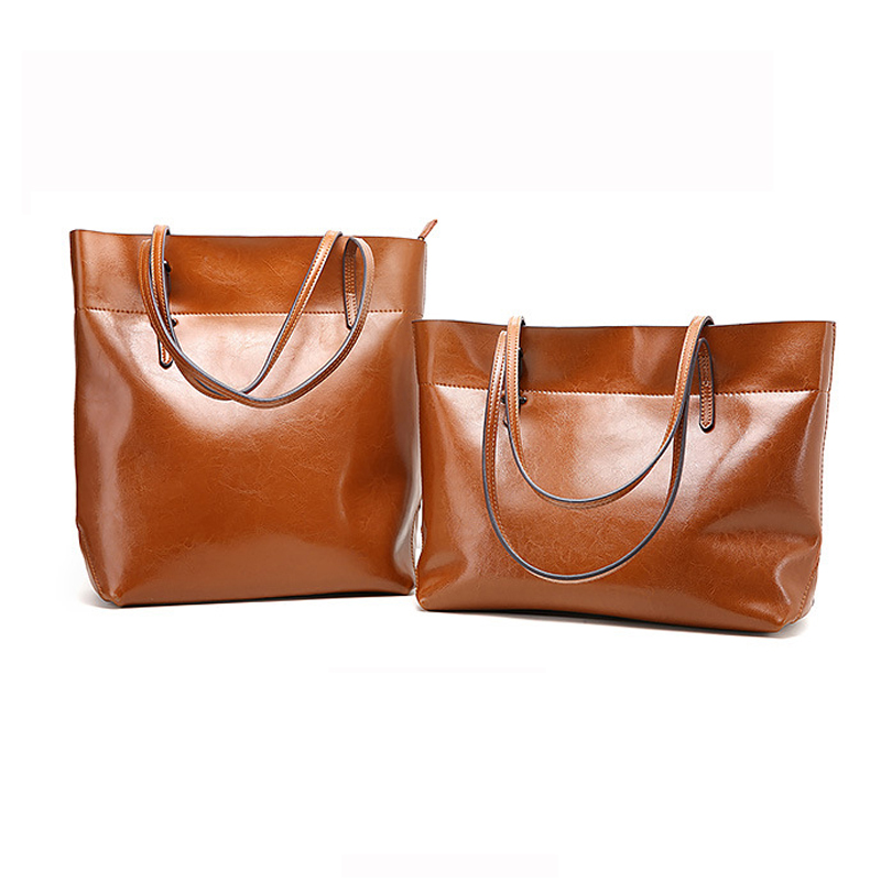 Women Genuine Leather Shoulder Bag Lady Large Top Handle Tote Bag Retro Real Oil Cow High