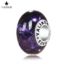 Violet glass beads charms  925 Sterling Silver fit Bracelets & Bangles for Women Jewelry Trendy GCLL0015