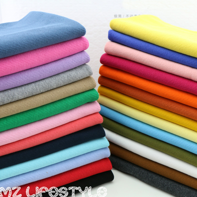 Hot sale 2x2 20cm cotton knitted rib cuff fabric stretchy for Sewing material for sale