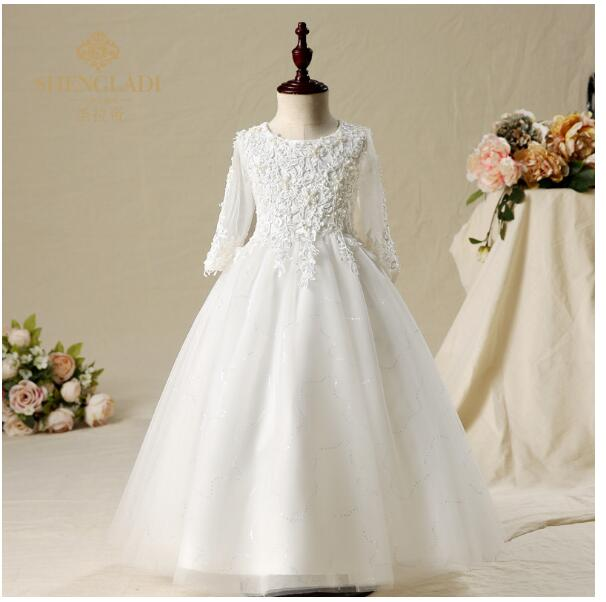 Girl's Wedding Formal Dresses 2018 Long Sleeve Gauze Gowns Flowers Girls Princess Dress Kids Birthday Party Prom Dress White half sleeve toddler girls show performance lace flowers white christening noble wedding princess bowknot party formal dress