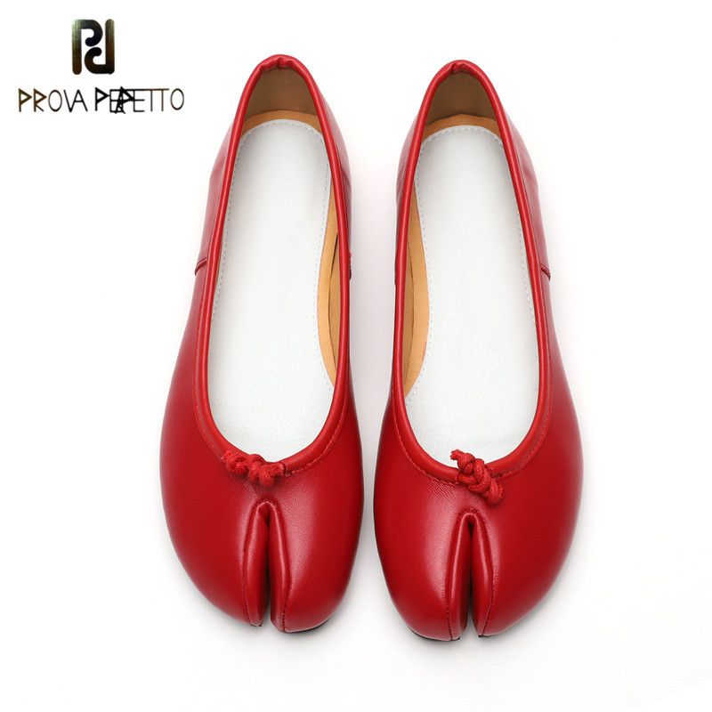 Prova Perfetto Novelty Design Split Toe Shoes Woman Genuine Leather Flat Shoes Spring Autumn Two Piece Hollow Shoes Ladies Shoes sweet women s flat shoes with pointed toe and two piece design