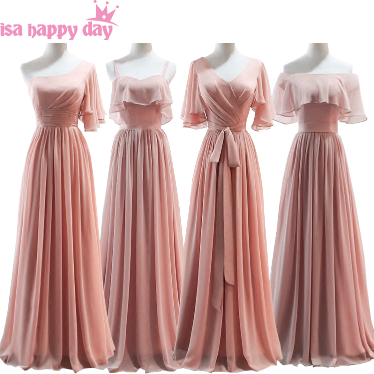 dark pink blush long women chiffon v neck capped a line bridemaid long   dress   fitted   bridesmaid     dresses   for wedding H4132