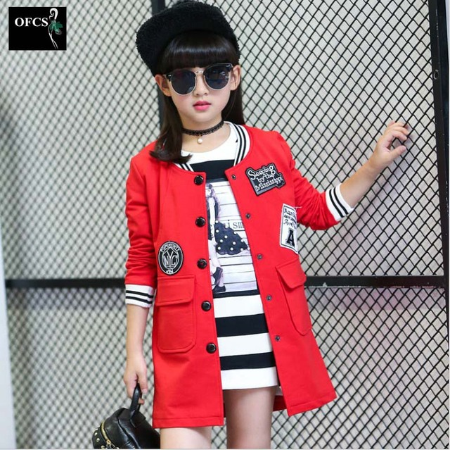 Selling Spring Baby Girl Coat Mid Long Clothes For Teenage Girls Kids Baseball Uniform Girls Outwear Children Fashion Jackets