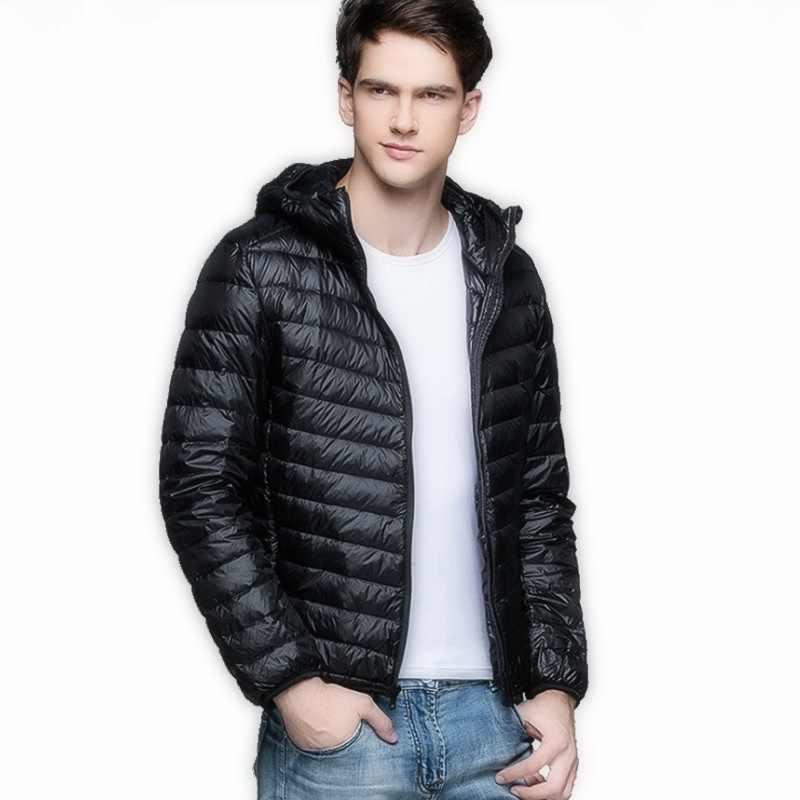 2020 가을 겨울 남성 경량 얇은 후드 다운 자켓 스탠딩 칼라 지퍼 코트 남성 솔리드 컬러 대형 아웃웨어 5XL