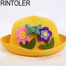Animals Cartoon Straw Hat Children Colorful Butterfly Flower Basin Cap  Beach Sun Visor Hat Boys Girls 2a98a1ed22aa