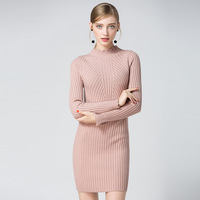 High Quality Warm Winter Women Thick Knitted Sweater Dress Slim Pink Stripes Long Pullover Half Turtleneck