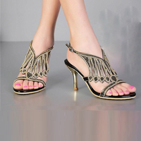 2016 New Design Brand Women High Heels Sandals Fashion Tassel Rhinestone Crystal Buckle Summer Pumps Thick