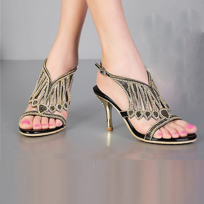 2018 new style brand women high heels sandals fashion tassel rhinestone crystal buckle summer pumps thick heeled lady shoes34-44 tutudress 2018 new brand summer style