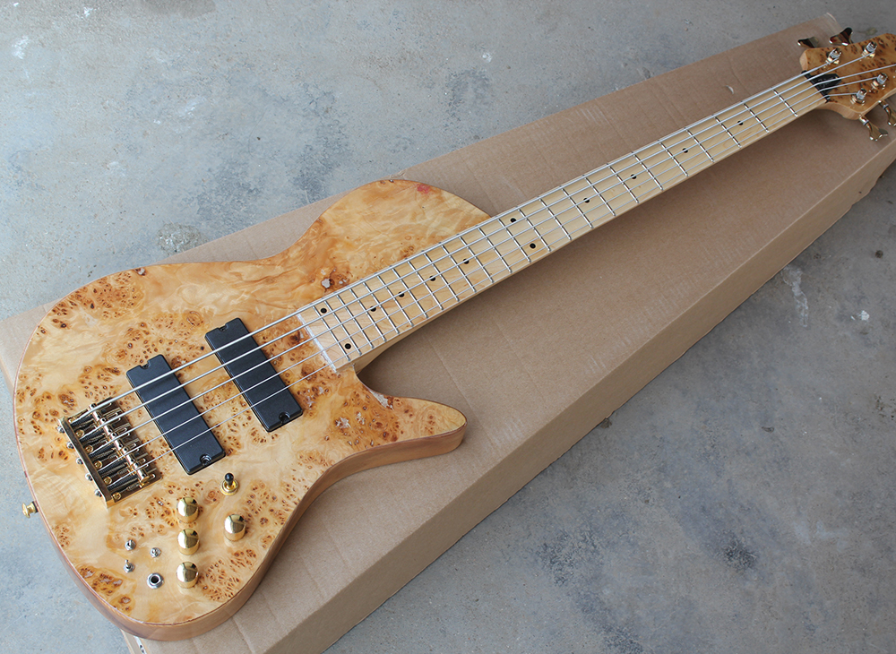 5 strings electric bass guitar with maple fretboard 24 frets tree burl veneer neck thru body. Black Bedroom Furniture Sets. Home Design Ideas