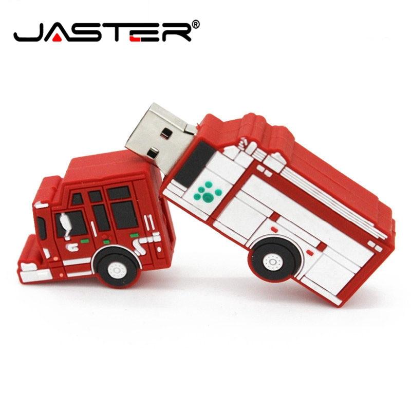 JASTER Pendrive Fire Truck Usb Flash Drive Pen Drive Car Toy U Disk 4GB 8GB 16GB 32GB Flash Memory Sticks