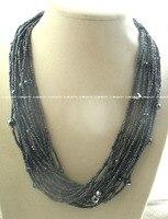 GRATIS VERZENDING >>>@@> groothandel 20 rijen zoetwaterparels quartz barok grijs ketting 20
