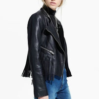 2015 Hot Sell New European And American Fashion Women Motorcycle Coat Slim Back Tassel PU Leather
