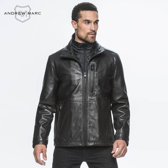 ANDREW MARC MNY 2016 Men Genuine Leather Sheepskin Jackets Coat Slim Motorcycle Suede Man Outwear Coat Winter Jacket TM6A1120