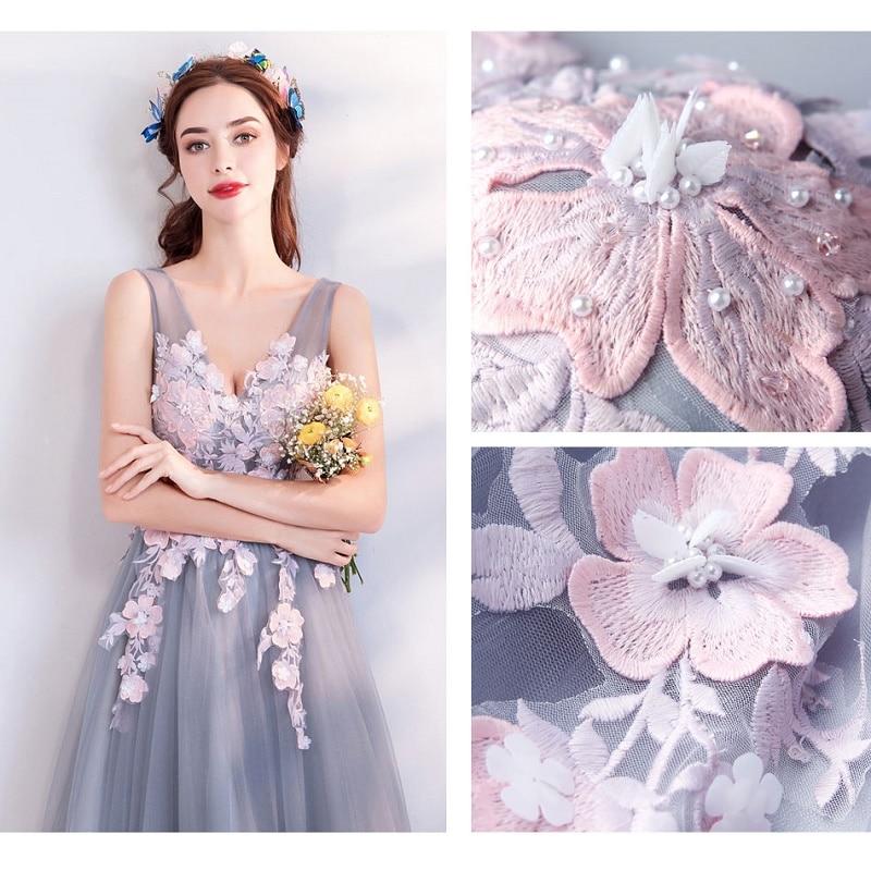 SOCCI Weekend elegante v-hals galajurk 2018 nieuwe grijs roze - Jurken voor bijzondere gelegenheden - Foto 6