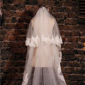 Image 2 - Màu trắng Ngà Dài 5M Ren Thêu Táo Đầm Dự Tiệc Phối Ren Voan Dài Cô Dâu Vân Cưới Phụ Kiện Với Lược EE02