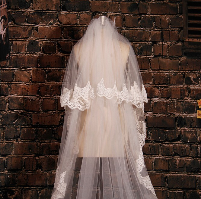 Image 2 - White Ivory 5M Long Embroidered Lace Applique Lace Wedding Veil Long Bridal Veil Wedding Accessories With Comb EE02-in Bridal Veils from Weddings & Events