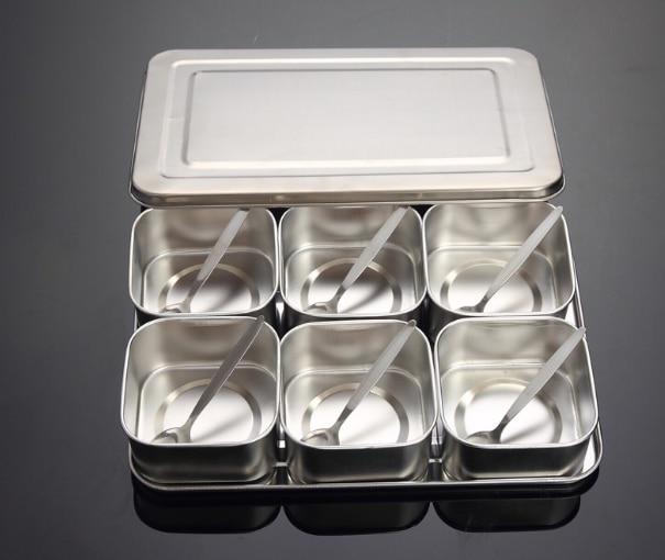Японский набор коробок для приправ из нержавеющей стали, креативная банка для приправ, 6 сеток, 8 сеток, дополнительно с крышкой, кухонная коробка для специй Q221 - Цвет: colour1