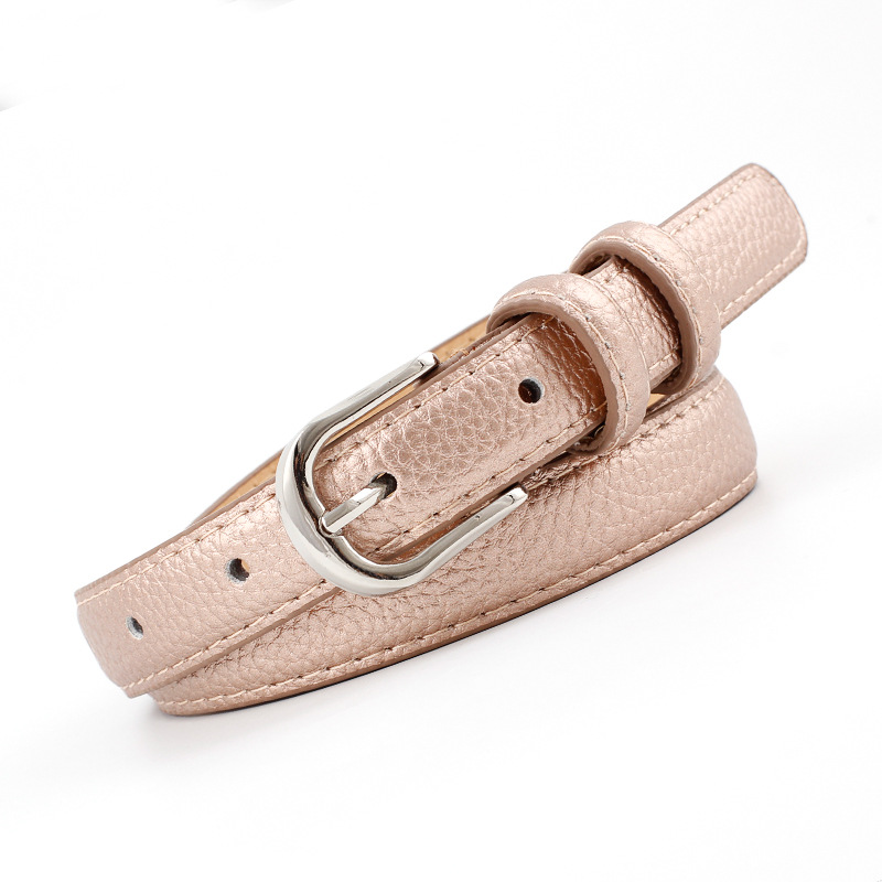 2018 New Designer Ladies Gold Silver Pink Black Narrow Thin Leather Belt Female Pink Buckle Skinny Waist Belts for Women Jeans