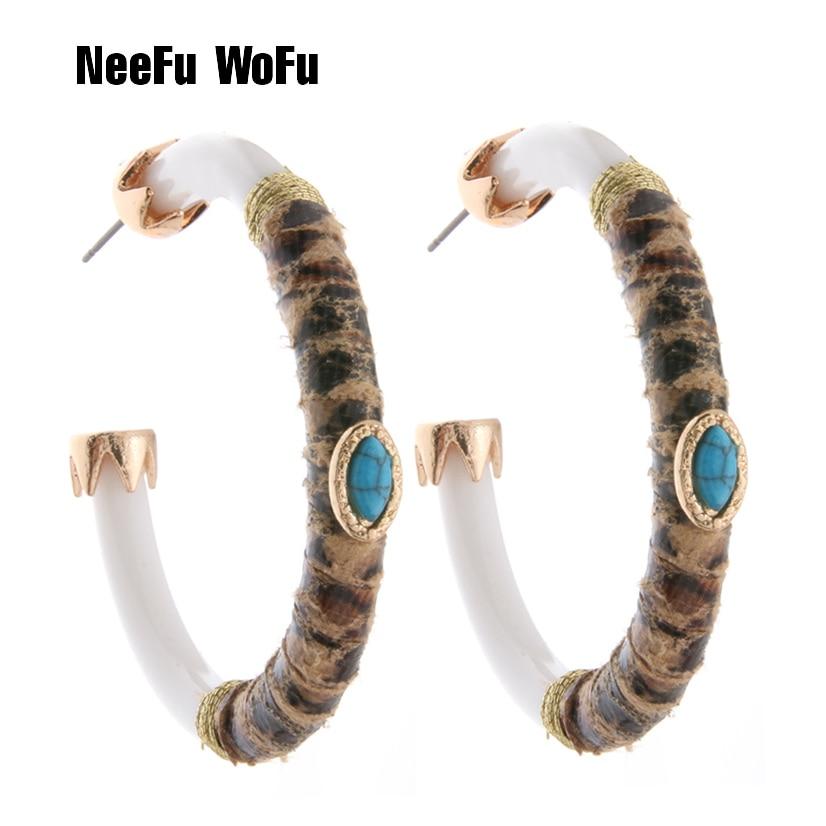 NeeFuWoFu Hoop Earrings Tiger Leather Resin Earring For Women Chinese style Big Earring Boucles Oorbellen brincos ear цена 2017
