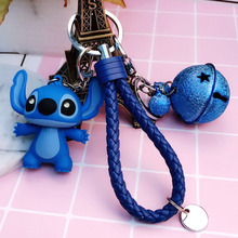 Cartoon Lilo and Stitch Keychains LED Stitch Doll Key Ring Sound Flash Rope Bell Backpack Pandent Gifts