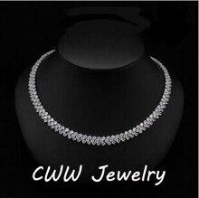CWWZircons 高品質ローマデザイン 234 個ラウンドホワイト AAA + キュービックジルコニア石パヴェネックレスのチェーンリンクネックレス CP007