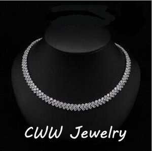 Image 1 - CWWZircons High Quality Rome Design 234 pcs Round White AAA+ Cubic Zirconia Stones Pave Chain Link Necklace CP007