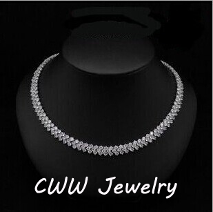 CWWZircons High Quality Rome Design 234 pcs Round White AAA+ Cubic Zirconia Stones Pave Chain Link Necklace CP007