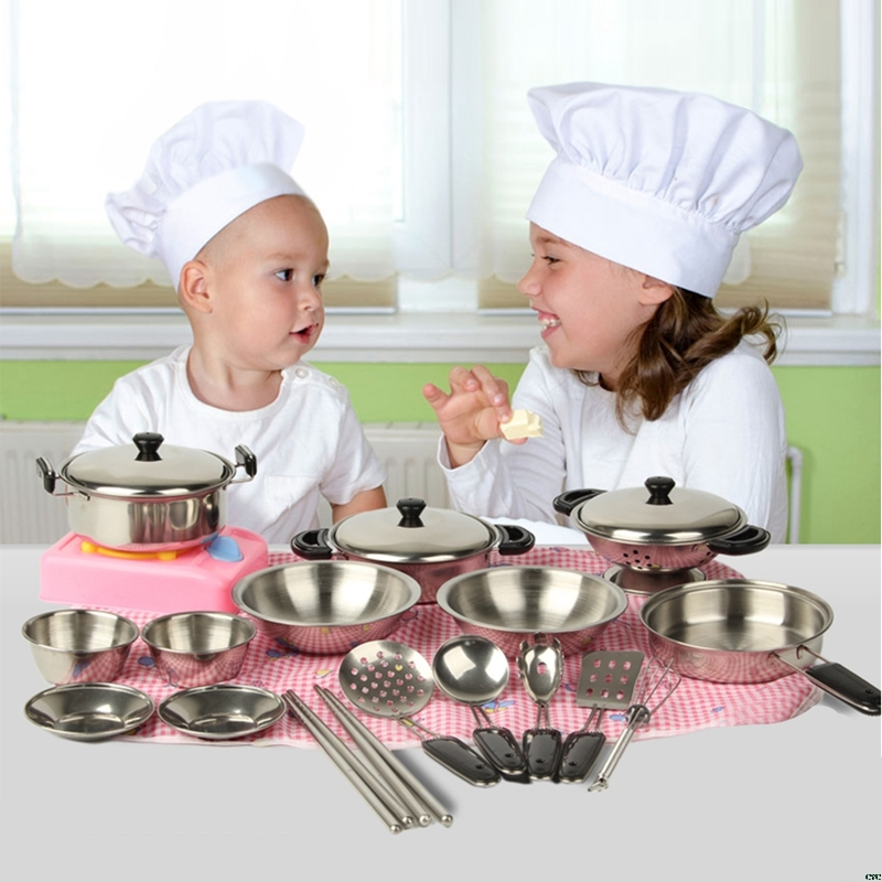 NEW Stainless Steel Pots Pans Cookware Miniature Toy Pretend Play Gift For Kid Simulated Kitchen Tool