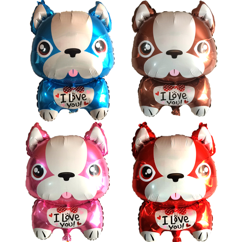 New 20ps I LOVE YOU BullDog dog Aluminum Balloon Childrens Birthday Party Wedding Decoration Toys For Kids Helium Foil Balloons