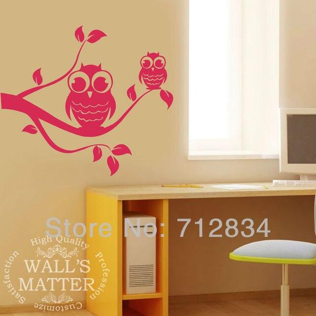 [B.Z.D] Free Shipping Vinyl Wall Art Decor Stickers Kawaii Owls Nursery Murals Wall Decals 80x50cm