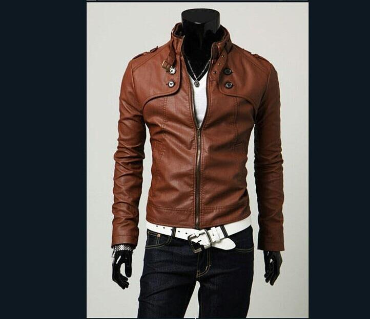 Mannen Mode Korte Slanke Effen Lederen Jas Uitloper Motorjacks Mannelijke PU Lederen Kleding Gratis Verzending