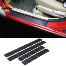 POSSBAY Auto Car Door Sill Strip Guard Carbon Fiber Plate Scuff Protection Front Rear Step Scratch Cover