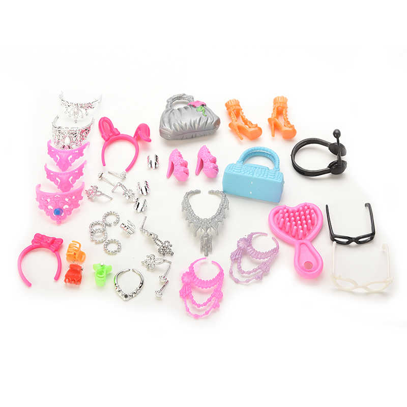 Venta caliente accesorios para Mini muñeca conjunto de joyería de moda collar pendiente Bowknot corona accesorios muñecas niños regalo