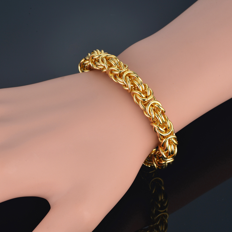 US $8 34 52% OFF|Mens Bracelets 2018 Gold Color 8MM Thick Byzantine Chain  Bracelets Bangles Vintage Jewelry Gift, New Box Chain Pulseras-in Chain &