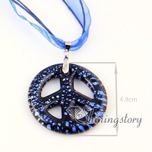 Peace sign foil Italian venetian lampwork blown murano glass pendants for necklaces jewelry cheap ladies jewellery