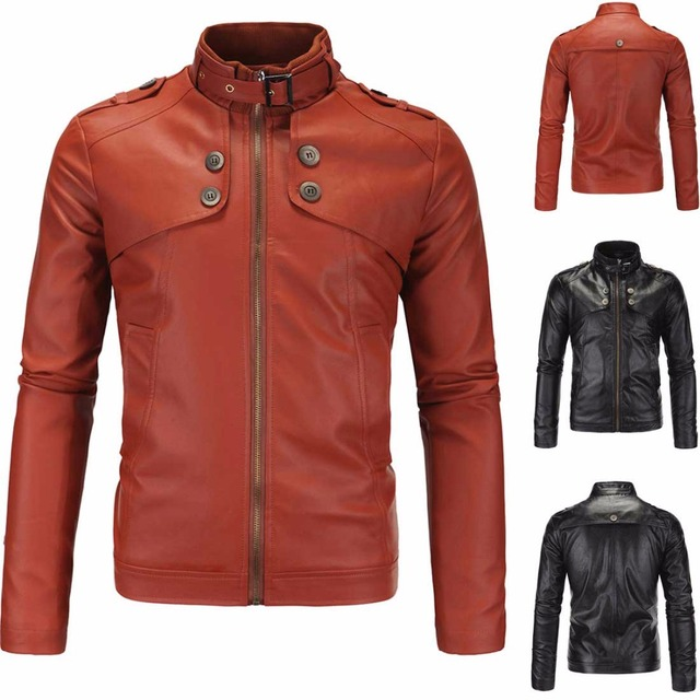 Autumn 2016 high quality men's motorcycle leather collar Slim washed 4 buttons straight hem zipper youth