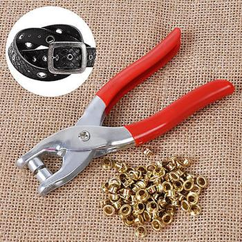 цена на 1 Punch Pliers 100 Rivets Eyelets Tools Grommets for Shoes Bags Leather Belt